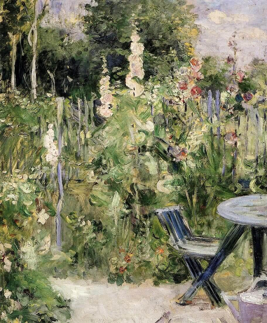 """""""Roses Trémières"""" door Berthe Morisot"""